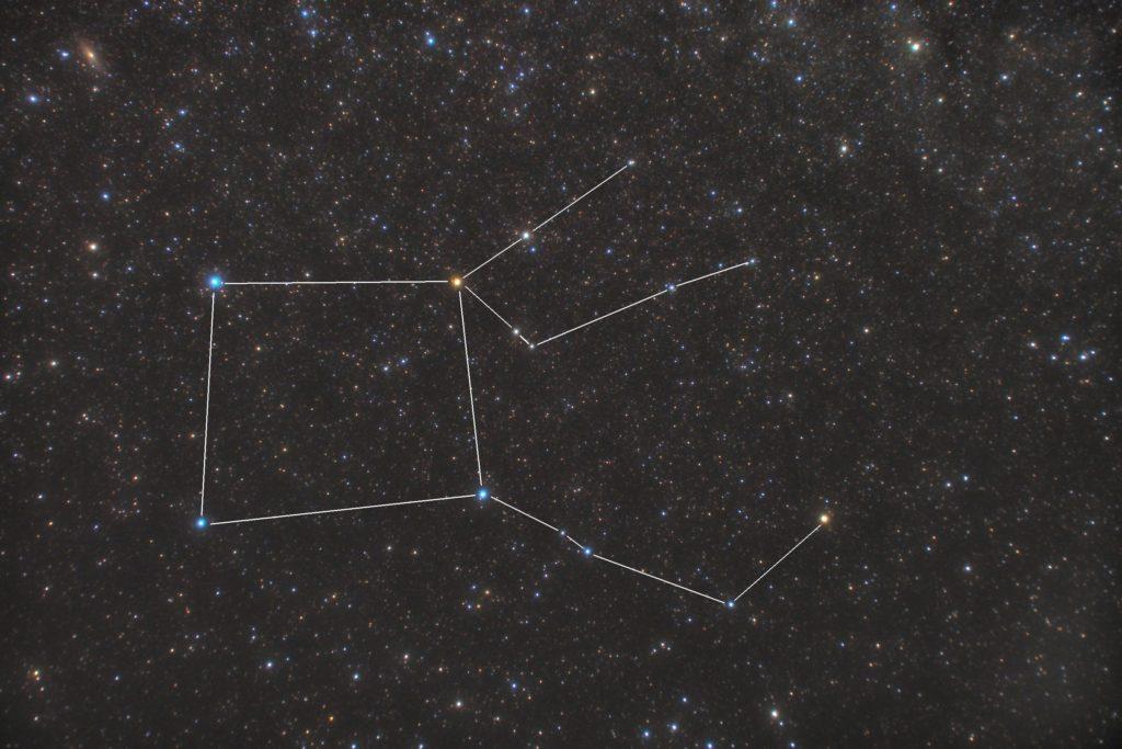 一眼カメラとズームレンズで2018年09月17日23時08分13秒から撮影したペガスス座(ペガサス座)の星座線入り星野写真(星空写真)です。