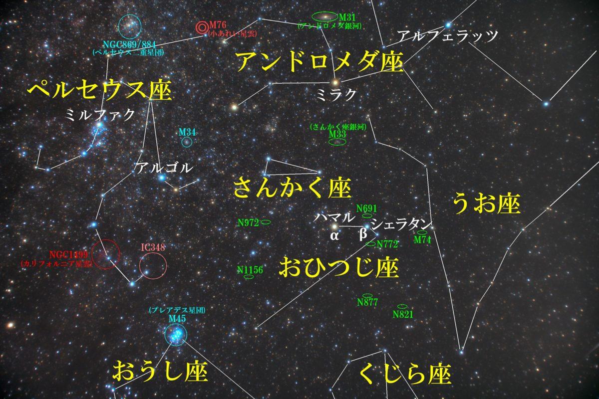 おひつじ座(牡羊座)付近の星図写真です。メシエ天体はなし。主なIC天体もなし。主なNGC天体は銀河のN691、N772、N877、N821、N972、N1156。