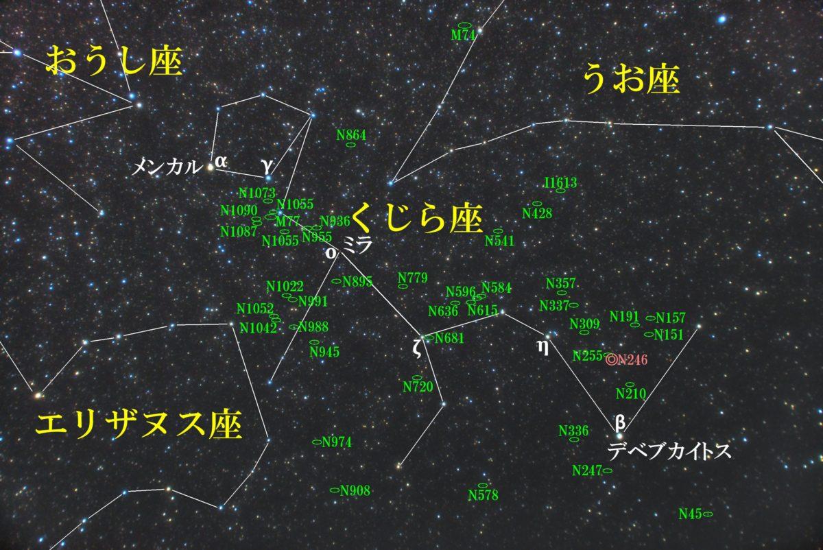 くじら座(鯨座)付近の星図写真です。メシエ天体はM77(セイファート銀河)でその他NGC天体の銀河と惑星状星雲があり、IC天体はIC1613の銀河です。