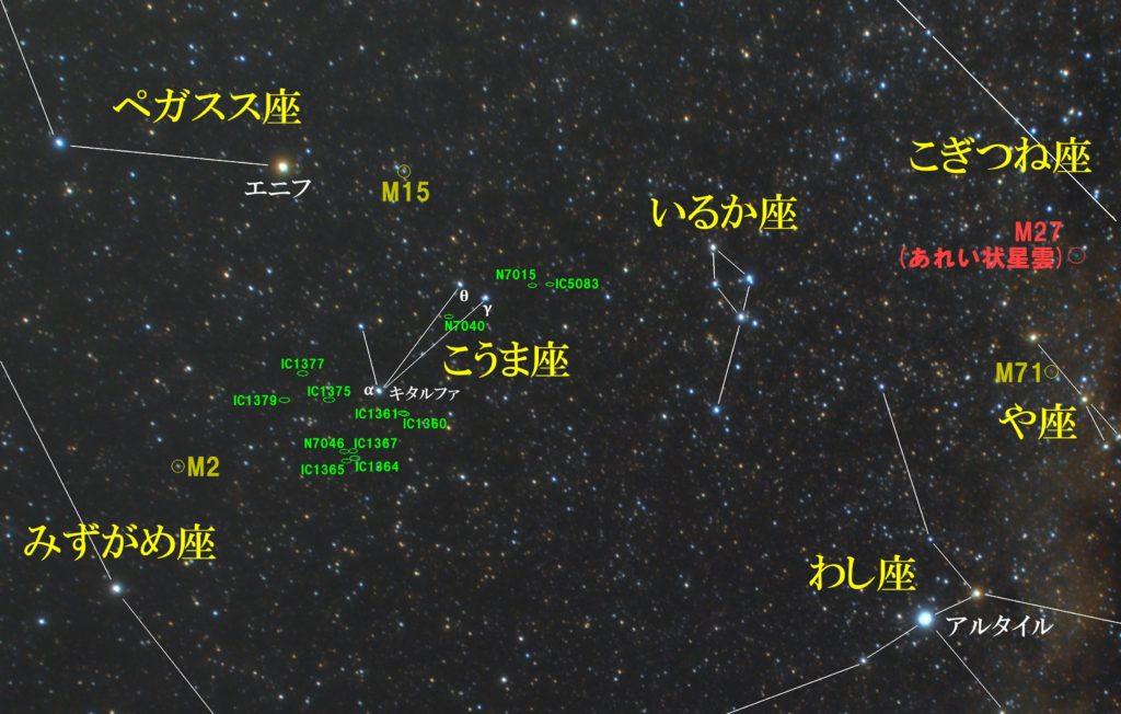 秋の星座こうま座(小馬座)の天体の位置がわかる写真星図です。メシエはなし。主なNGCは銀河のNGC7046、NGC7040、NGC7015。ICは銀河のIC1365、IC1864、IC1367、IC1360、IC1361、IC1379、IC1375、IC1377、IC5083です。