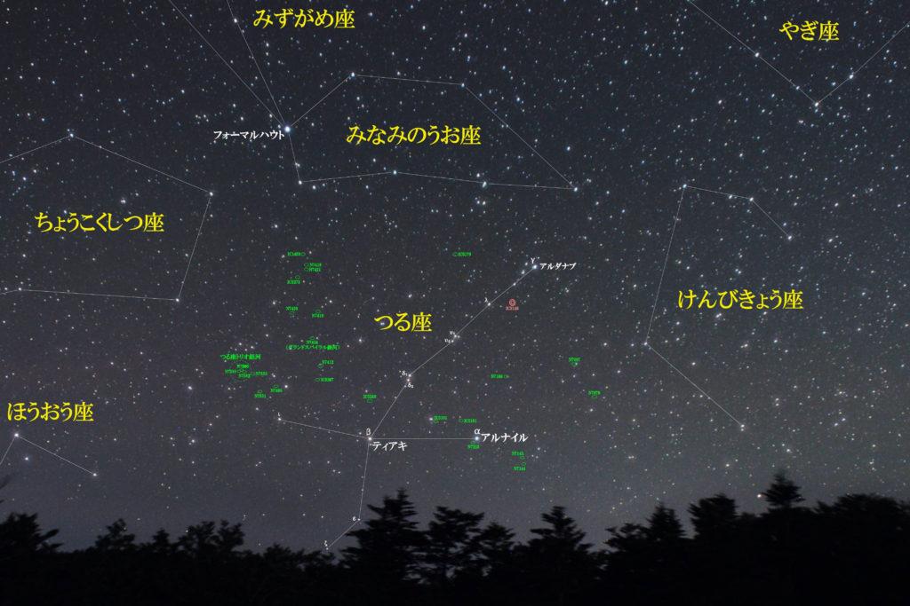 一眼レフカメラとズームレンズで撮影したつる座(鶴座)付近の天体の位置がわかる写真星図です。季節は秋でメシエはなし。【惑星状星雲】IC5148【銀河】NGC7496|NGC7531|NGC7552|つる座トリオ銀河(NGC7582+NGC7590+NGC7599)|NGC7424(グランドスパイラル銀河)|NGC7410|NGC7456|NGC7418|などが魅力的でおすすめです。