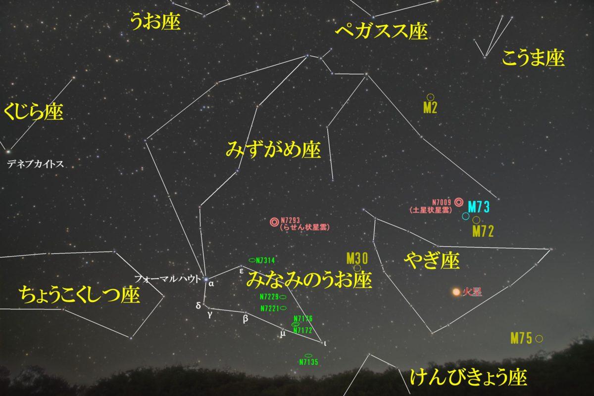みなみのうお座(南の魚座)の天体の位置がわかる写真星図です。主なNGCは銀河のNGC7135、NGC7172、NGC7176、NGC7221、NGC7229、NGC7314です。メシエ天体はなし。