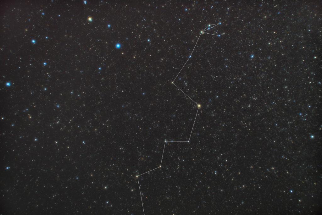 一眼カメラで撮影したうみへび座(海蛇座)の頭付近の星座線入り星野写真(星空写真)です。撮影日時は2018年12月11日03時15分01秒から。PENTAX KP/TAMRON AF18-200mm F3.5-6.3 XR DiII/ケンコープロソフトンA/フルサイズ換算27㎜/ISO3200/露出2分/F4.5/15枚を加算平均コンポジット/ダーク減算なし/ソフトビニングフラット補正です。