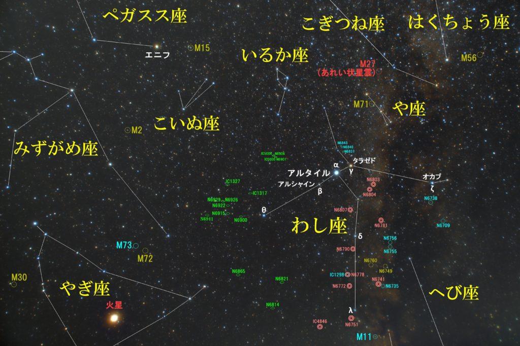 一眼レフとカメラレンズで撮影して夏の星座わし座(鷲座)の天体の位置がわかる写真星図と作成しました。メシエはなし。惑星状星雲はNGC6781とNGC6804。銀河はNGC6906などがおすすめです。