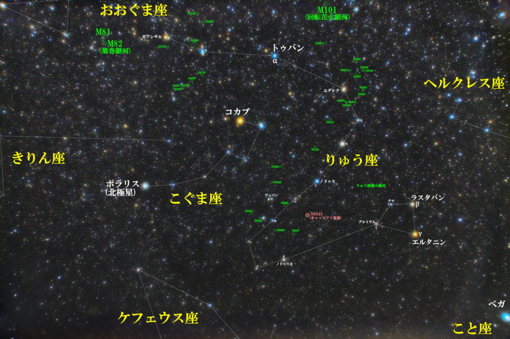 一眼カメラとカメラレンズで竜座(りゅう座)付近の天体の位置がわかる写真星図を作成しました。メシエはなし。メジャーな天体は惑星状星雲のNGC6543(キャッツアイ星雲)。その他魅力的な銀河が多数あっておすすめです。