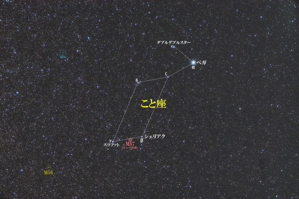 こと座の星図です。メシエ天体はM56(球状星団)とM57(ドーナツ星雲・リング星雲・環状星雲)。主なNGC天体はNGC6391とNGC6703などです。