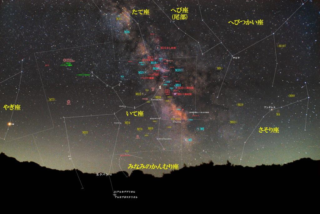 一眼カメラとカメラレンズで撮影した射手座(いて座)付近の天体の位置がわかる写真星図です。季節は夏でメシエは散光星雲のM8(干潟星雲)|M17(オメガ星雲)|M20(三裂星雲)と散開星団のM18|M21|M23|M24|M25と球状星団のM22|M28|M54|M55|M69|M70|M75です。メジャーなのは散光星雲のバンビの首飾り(IC1283/IC1284/Sh2-37付近)|バンビの横顔|猫の手星雲(IC1274+IC1275+IC4685+NGC6559)や惑星状星雲のNGC6818(小さな宝石)にバーナード銀河(NGC6822)などがあります。 また、魅力的な散開星団+暗黒星雲のNGC6520+Barnard86や球状星団のNGC6522+NGC6528やNGC6723など