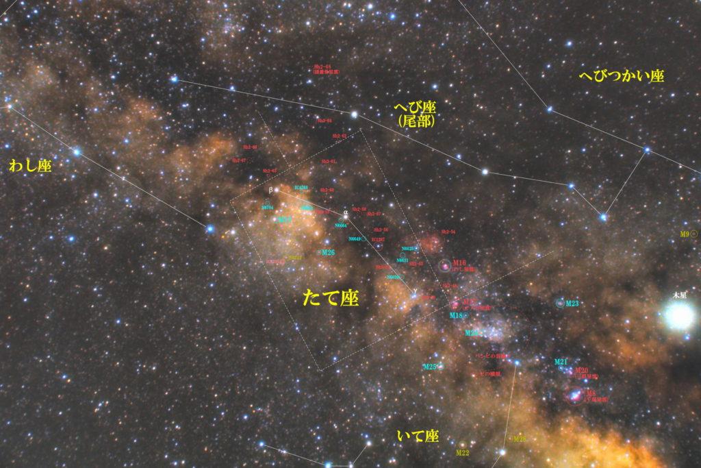 一眼カメラとカメラレンズで撮影した楯座(たて座)付近の天体の位置がわかる写真星図です。季節は夏でメシエは散開星団のM11とM26です。散光星雲のSh2-53やIC1287と惑星状星雲のIC1295などが魅力的です。