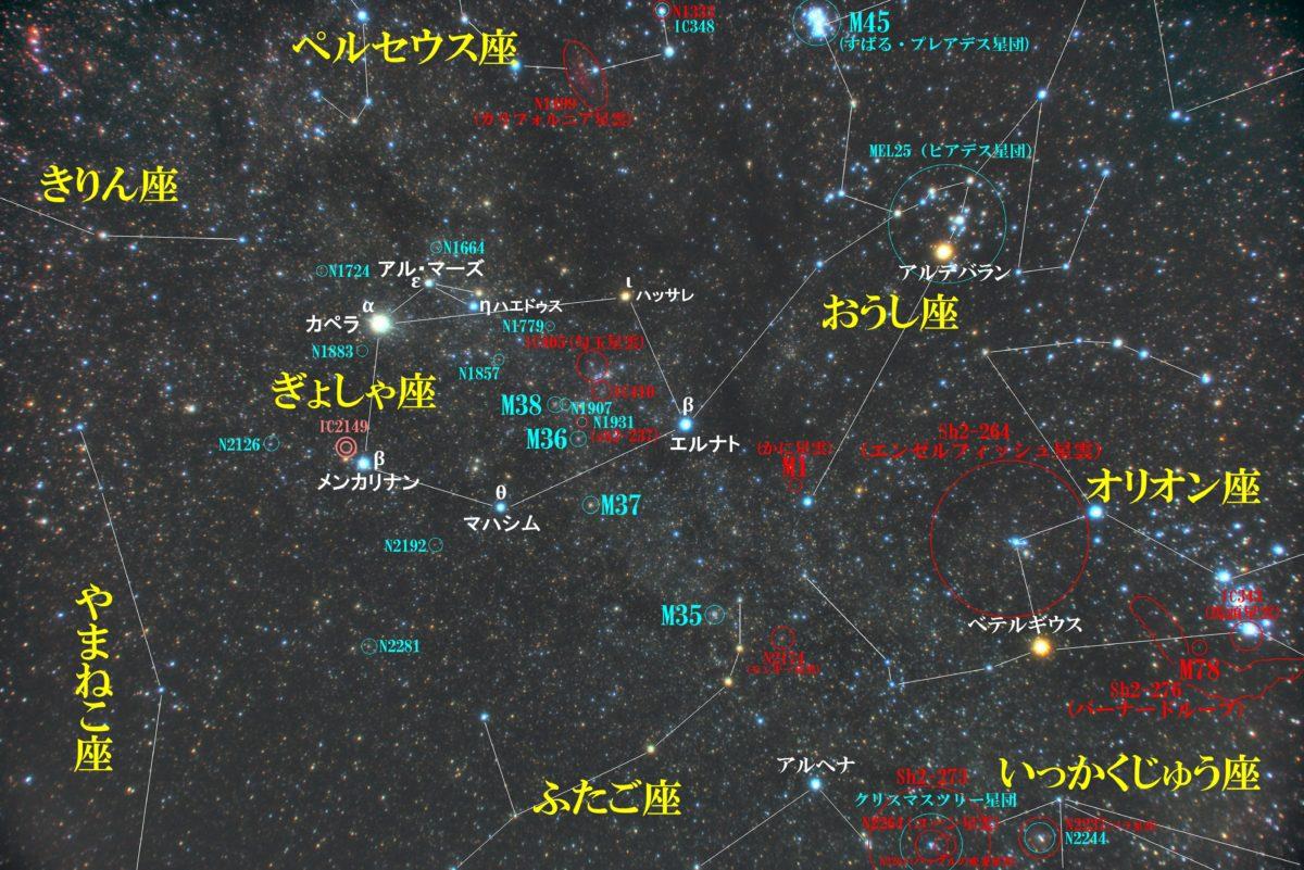 ぎょしゃ座(馭者座)付近の星図写真です。メシエ天体は散開星団のM36、M37、M38。IC405(勾玉星雲)やIC410が有名。その他NGCやIC天体などの位置と周辺のメジャーな天体。