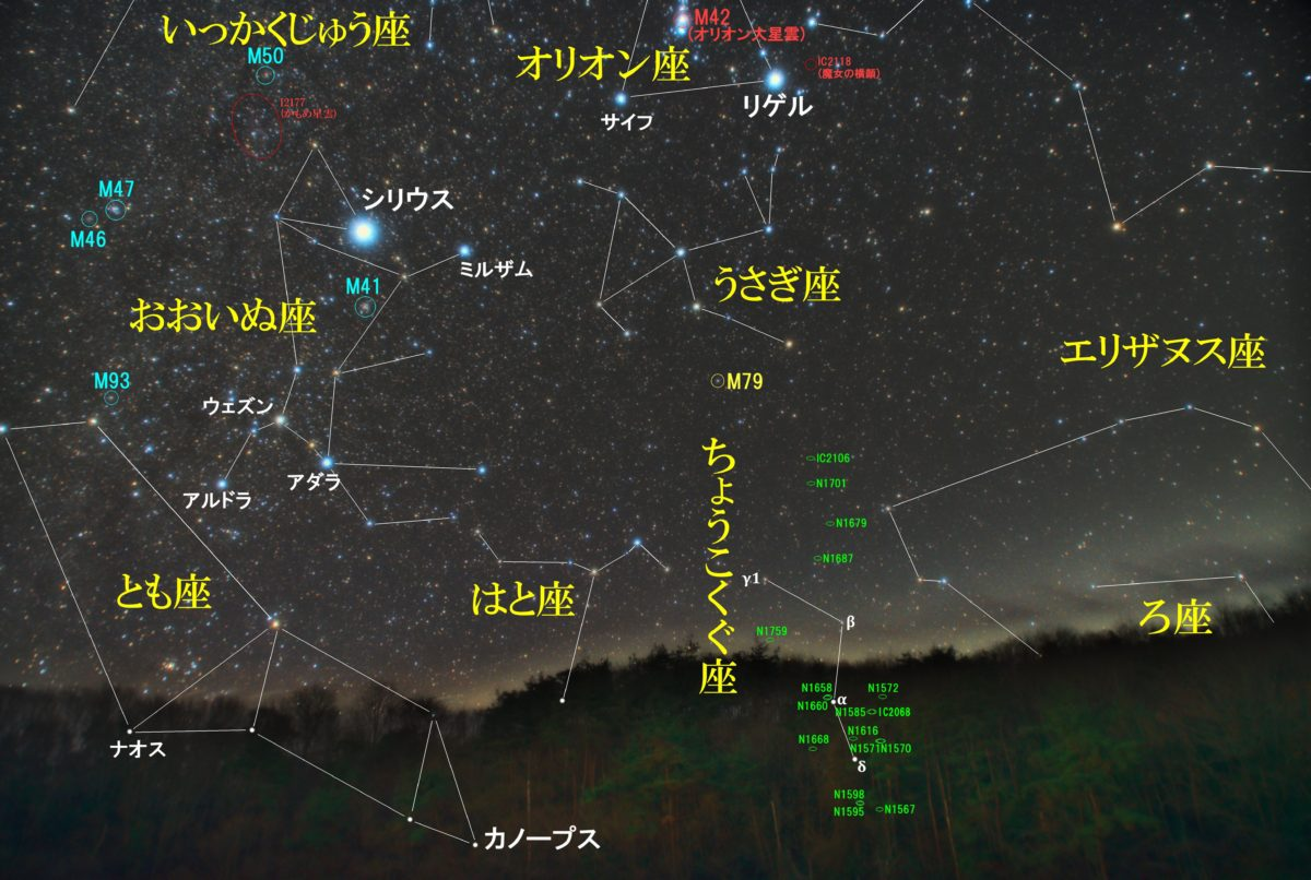 冬の星座ちょうこくぐ座(彫刻具座)の天体の位置がわかる写真星図です。メシエ天体はなし。NGCは銀河が16個。ICは銀河のIC2106です。