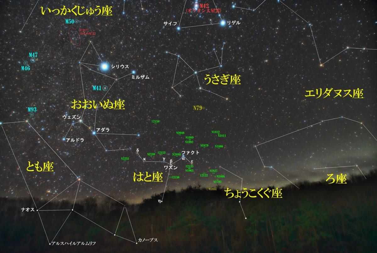 冬の星座はと座(鳩座)の天体の位置がわかる写真星図です。メシエ天体はなし。NGC天体は球状星団NGC1851、銀河が14天体。IC天体は銀河が5天体です。