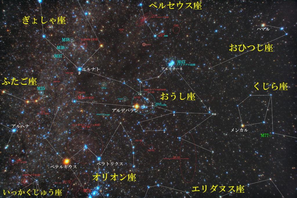 おうし座(牡牛座)の天体の位置がわかる写真星図です。メシエはM45(プレアデス星団・スバル)、M1(かに星雲)。メジャーな天体は散開星団のMel25(ヒアデス星団)、散光星雲のSh2-238-NGC1555(ハインドの変光星雲)、Sh2-245(オリオンエリダヌススーパーバブル)など。その他惑星状星雲や散開星団など。