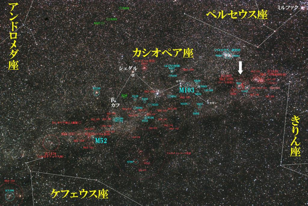 一眼レフカメラとズームレンズで撮影したIC1805(Sh2-190)「ハート星雲」の位置とカシオペア座周辺の天体がわかる写真星図です。