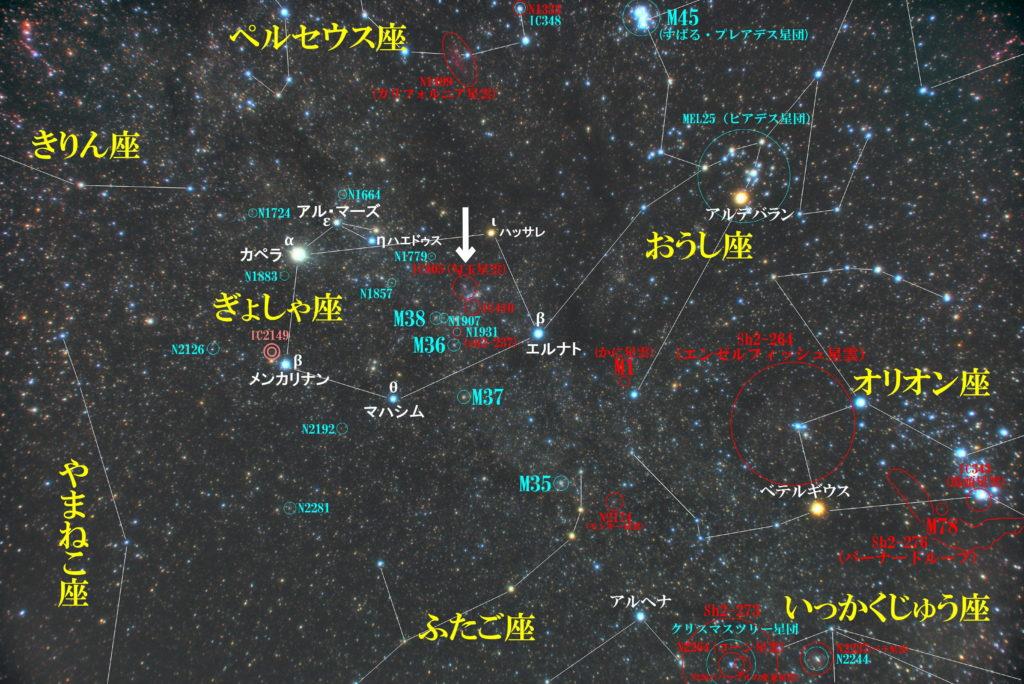 一眼レフカメラとズームレンズで撮影したIC405(Sh2-229)勾玉星雲の位置とぎょしゃ座周辺の天体がわかる写真星図です。