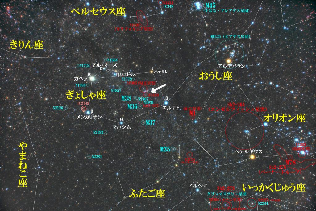 一眼レフカメラとズームレンズで撮影したIC410(Sh2-236)おたまじゃくし星雲の位置とぎょしゃ座周辺の天体がわかる写真星図です。