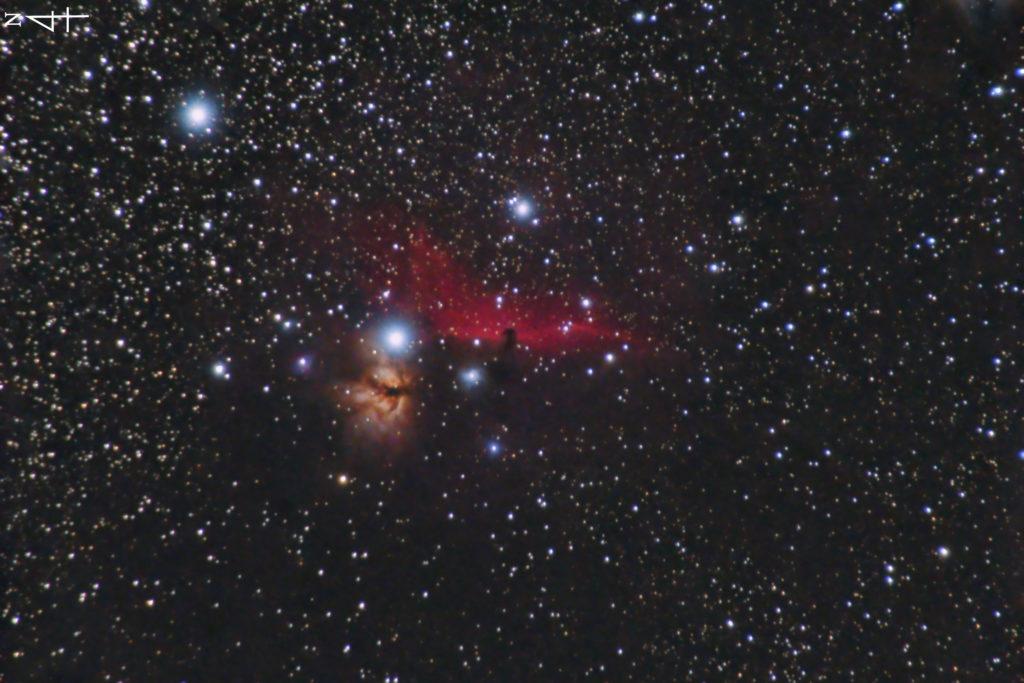 IC434(馬頭星雲)とNGC2024(燃える木)の天体写真です。撮影日は2021年09月10日02時58分08秒からで左が北になります。焦点距離はフルサイズ換算約459mmです。