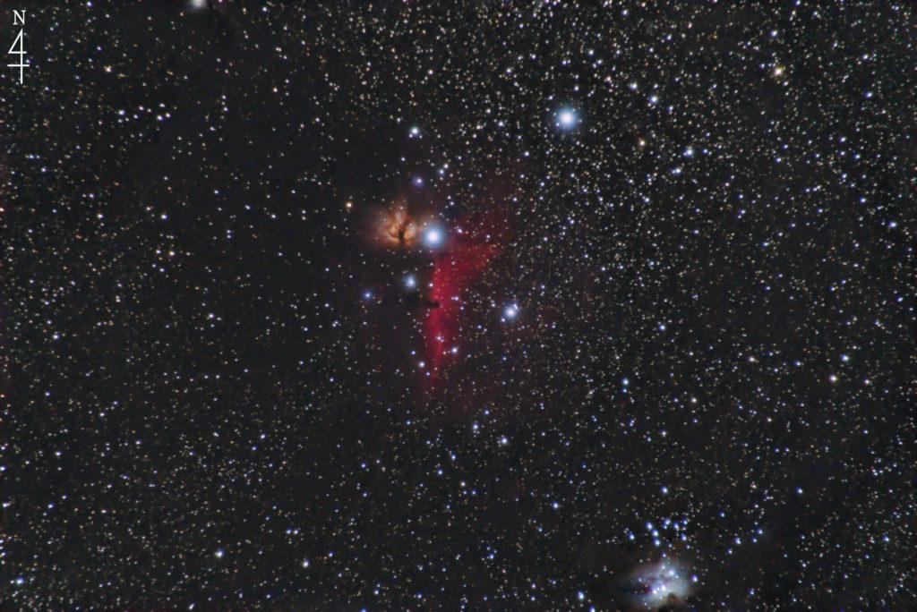 IC434(馬頭星雲)とNGC2024(燃える木)の天体写真です。撮影日は2021年09月10日02時58分08秒からで左上に北のマークがあります。