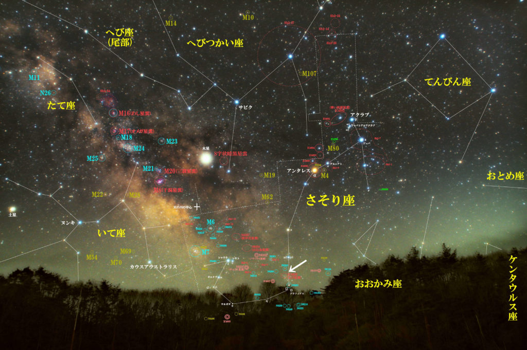 さそり座の散光星雲IC4628(えび星雲)の位置がわかるさそり座付近の写真星図です。