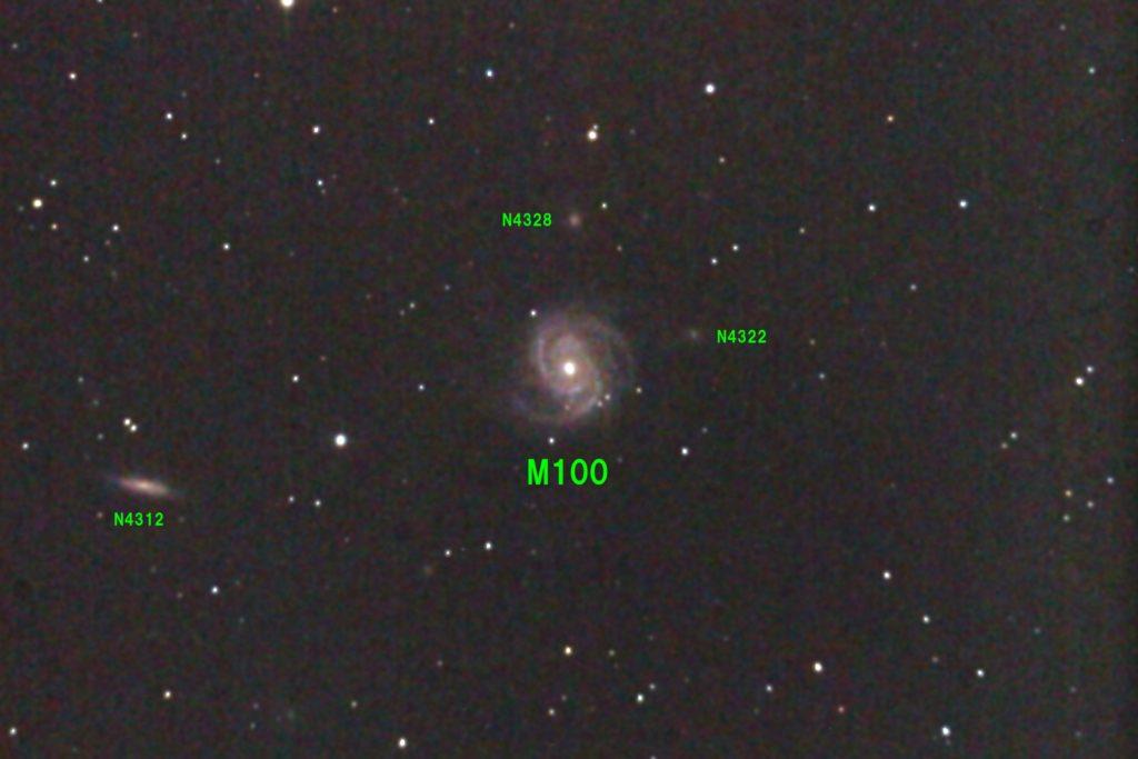 2017年05月01日23時50分からケンコーの口径20cmF5の反射望遠鏡NEW Sky Explorer SE200Nとキャノンの一眼レフカメラEOS KISS X2でISO1600/露出180秒×jpeg1枚で撮影したフルサイズ換算約2625mmのM100のメシエ天体写真です。