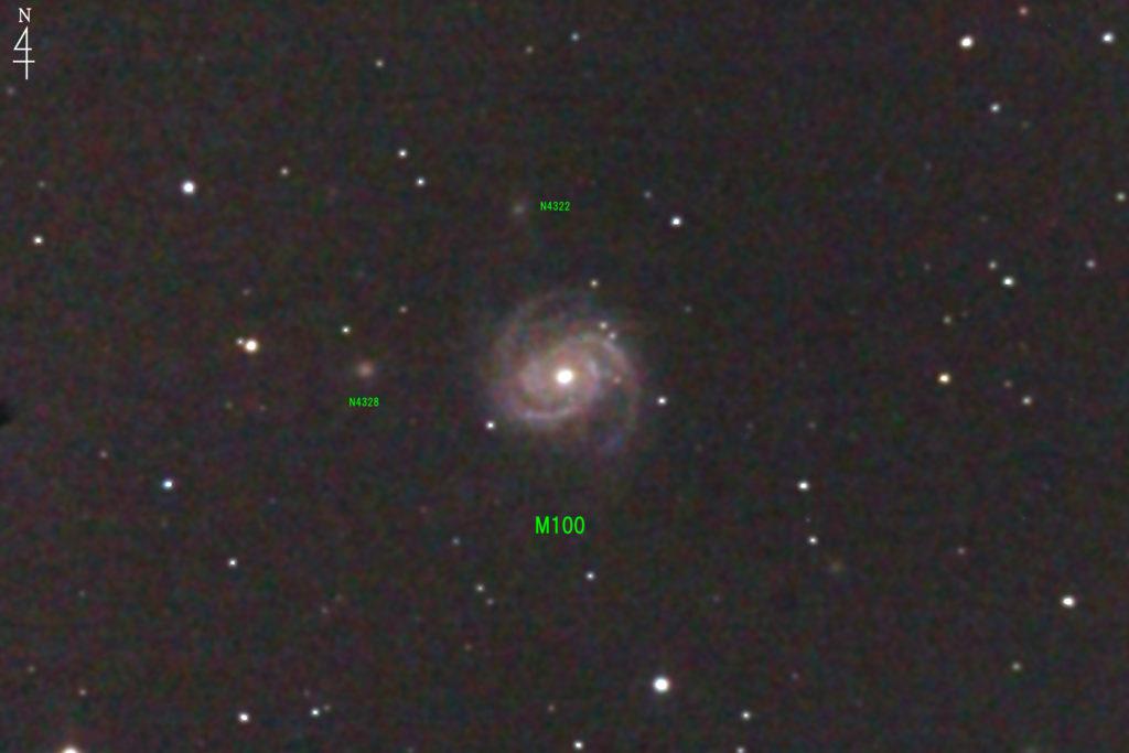 2017年05月01日23時50分からケンコーの口径20cmF5の反射望遠鏡NEW Sky Explorer SE200Nとキャノンの一眼レフカメラEOS KISS X2でISO1600/露出180秒×jpeg1枚で撮影したフルサイズ換算約3507mmのM100のメシエ天体写真です。