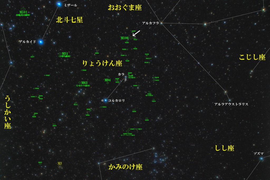 一眼レフとカメラレンズで撮影したM106の位置と猟犬座(りょうけん座)周辺の天体がわかる写真星図を撮りました。