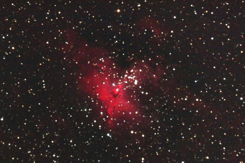 口径20cm反射望遠鏡SE200N/F5/EOS KISS X2/ISO1600/180秒jpeg撮って出し/dark1/ソフトビニングフラット補正をしたM16(わし星雲)のメシエ天体写真です。