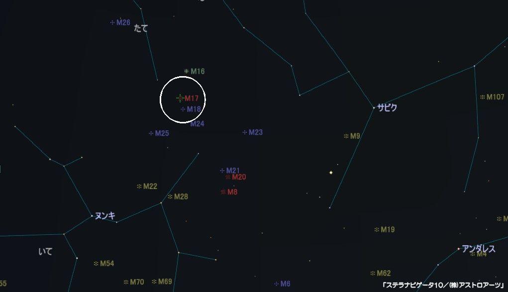 M17(オメガ星雲)の星図