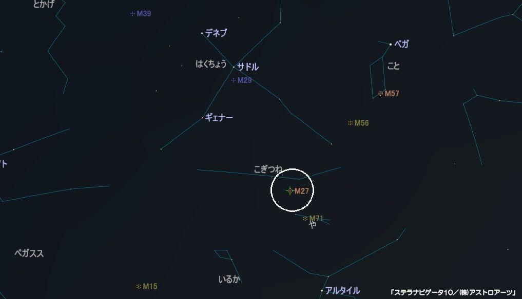 M27(あれい状星雲)の星図