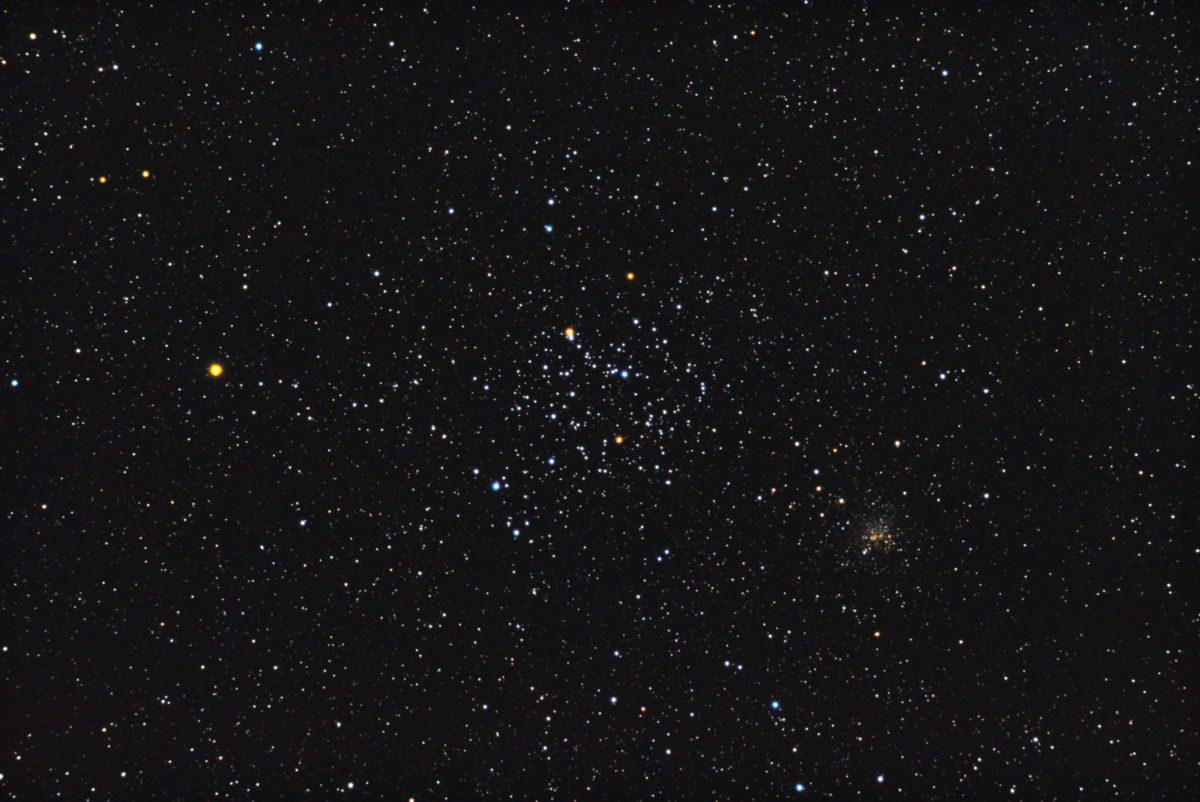 口径15.2cm反射望遠鏡(LXD-55)/F5/PENTAX-KP/ISO25600/カメラダーク/ソフトビニングフラット/露出10秒×30枚を加算平均コンポジットした2017年09月25日03時56分09秒から撮影したM35の天体写真です。