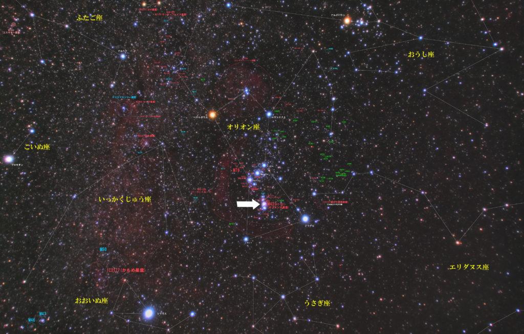 一眼レフとカメラレンズで撮影したM42(オリオン大星雲)の位置とオリオン座周辺の天体がわかる写真星図です。