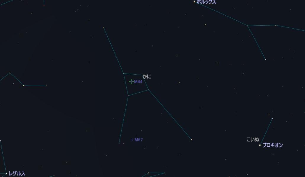M44(プレセペ星団)の星図