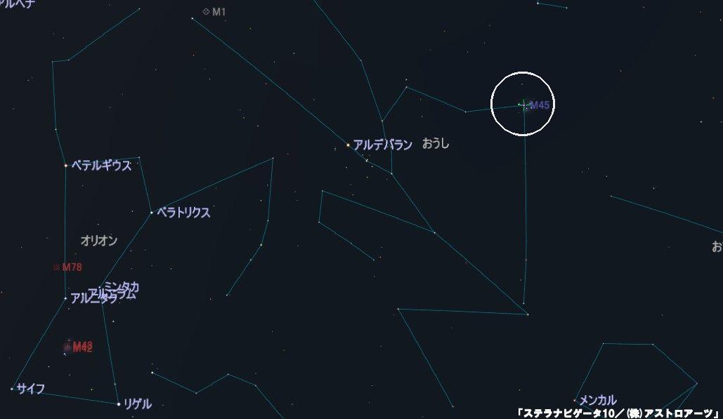 M45(すばる・プレアデス星団)の星図