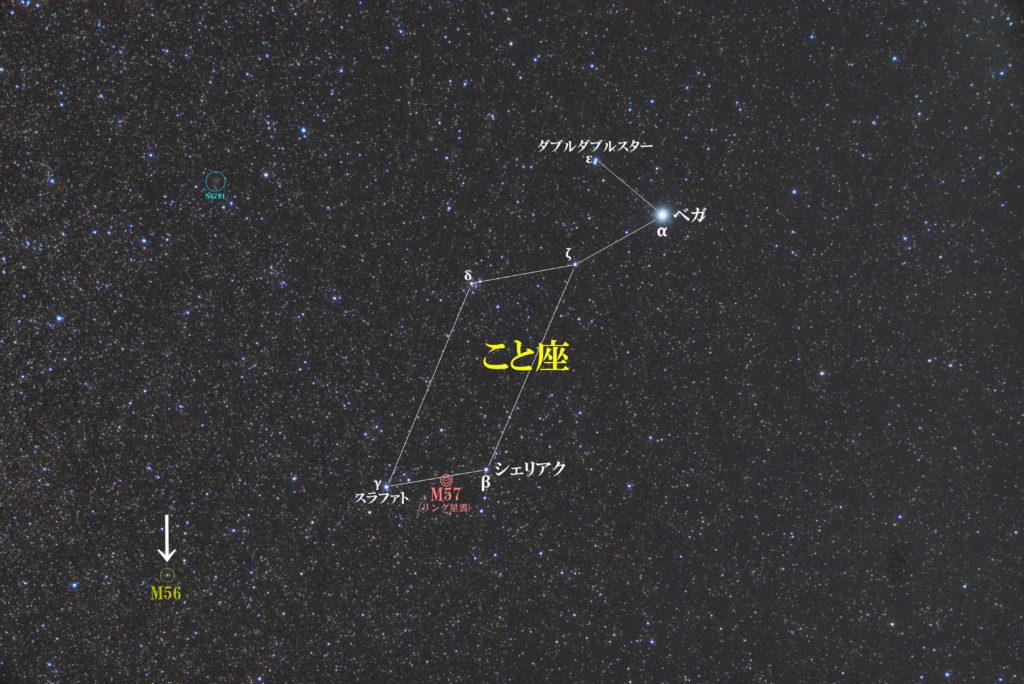一眼レフとカメラレンズで撮影したM56の位置と琴座(こと座)周辺の天体がわかる写真星図を撮りました。