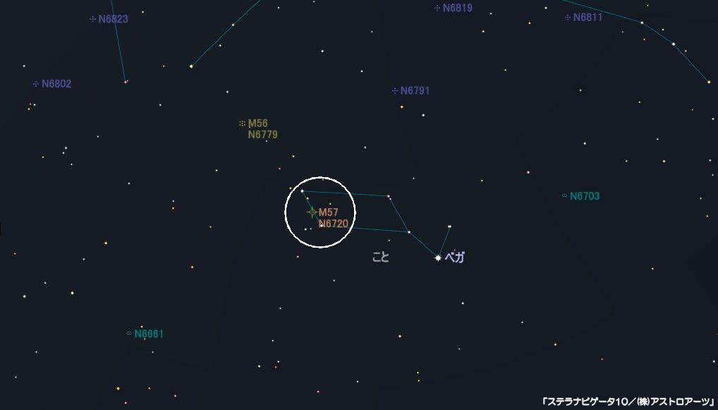 M57(ドーナツ星雲、環状星雲、リング星雲)の星図