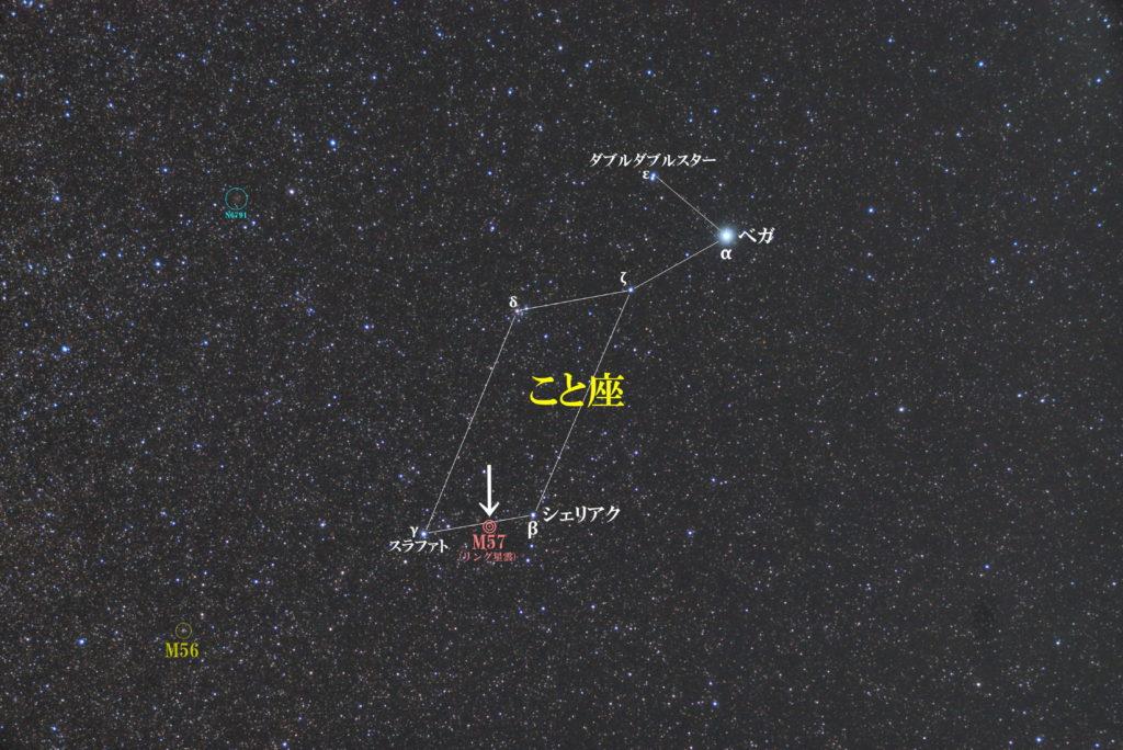 一眼レフとカメラレンズで撮影したM57(リング星雲)の位置と琴座(こと座)周辺の天体がわかる写真星図を撮りました。