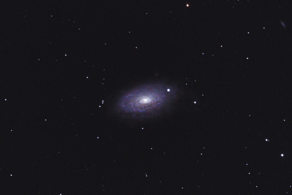 2018年04月13日00時31分51秒からミードの口径15.2cmF5の反射望遠鏡LXD-55とリコーの一眼レフカメラPENTAX-KPでISO25600/露出40秒で撮影して68枚を加算平均コンポジットしたフルサイズ換算約2737mmのM63(ひまわり銀河)のメシエ天体写真です。