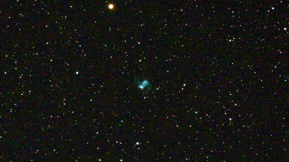 口径15.2cm反射望遠鏡(LXD-55)/F5/PENTAX-KP/ISO25600/カメラダーク/疑似フラット/露出30秒×2枚を加算平均コンポジットした2017年08月23日01時59分39秒から撮影したM76(小あれい星雲)の天体写真です。
