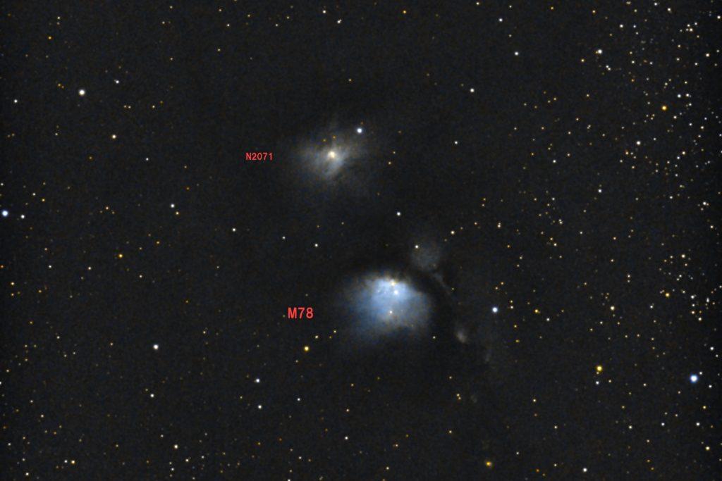 2017年10月27日01時43分32秒から反射望遠鏡のミードLXD-55と一眼レフカメラのPENTAX-KPでISO51200/露出20秒で撮影して32枚を加算平均コンポジットした撮影したM78(左)とNGC2071(右)のメシエ天体写真です。