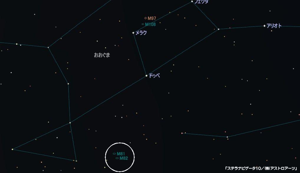 M82(葉巻銀河)の星図
