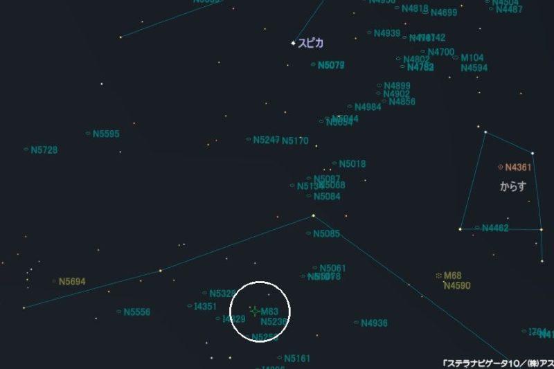 M83(南の回転花火銀河)の星図