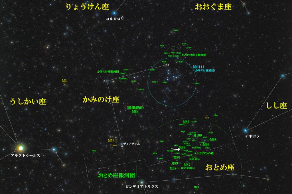 一眼レフとカメラレンズで撮影したM88の位置と髪座(かみのけ座)周辺の天体がわかる写真星図を撮りました。