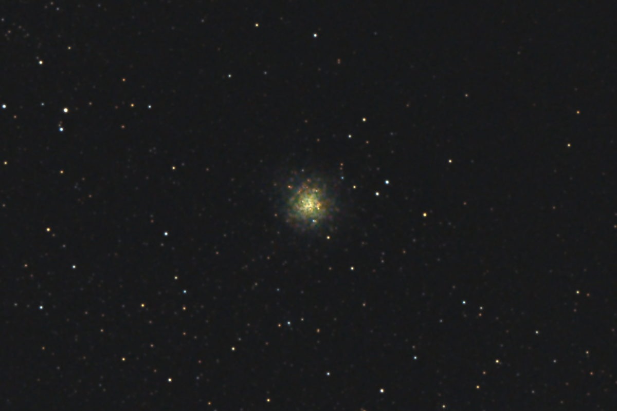 口径15.2cm反射望遠鏡(LXD-55)/F5/PENTAX-KP/ISO25600/カメラのダーク減算/ソフトビニングフラット補正/露出3秒×30枚を加算平均コンポジットした2017年09月24日19時36分21秒から撮影したM9(球状星団)のメシエ天体写真です。