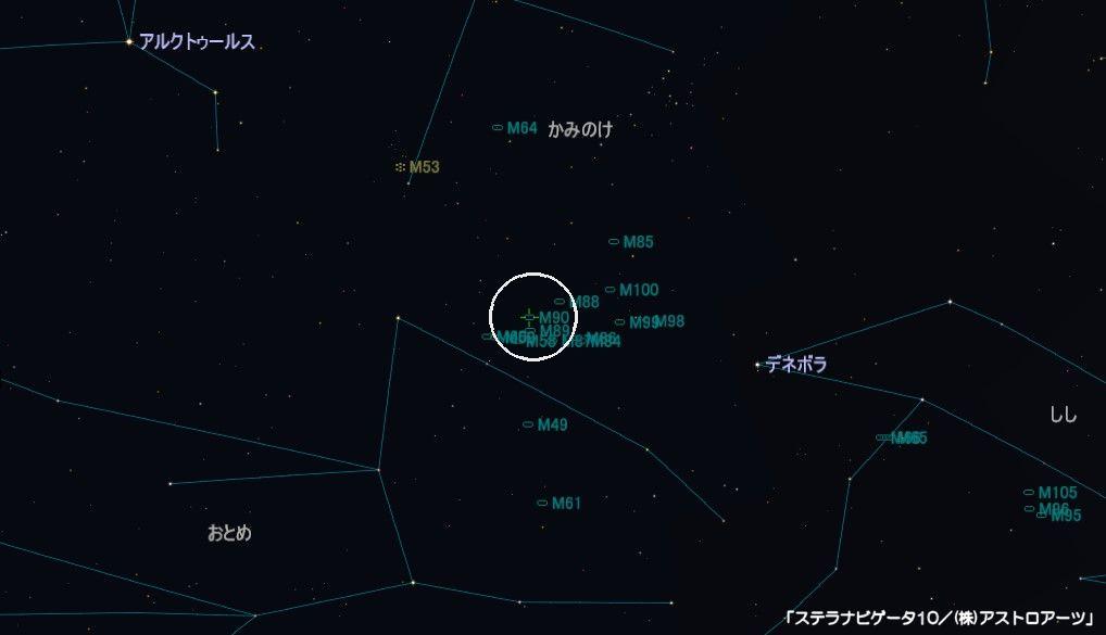 M90の星図
