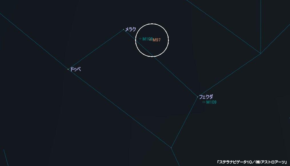 M97(ふくろう星雲)の星図