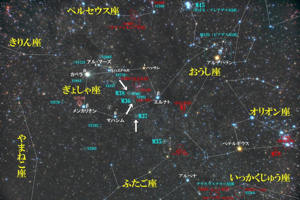 ぎょしゃ座のメシエ天体の位置がわかる写真星図です。散開星団のM35とM36とM37の3つがあります。