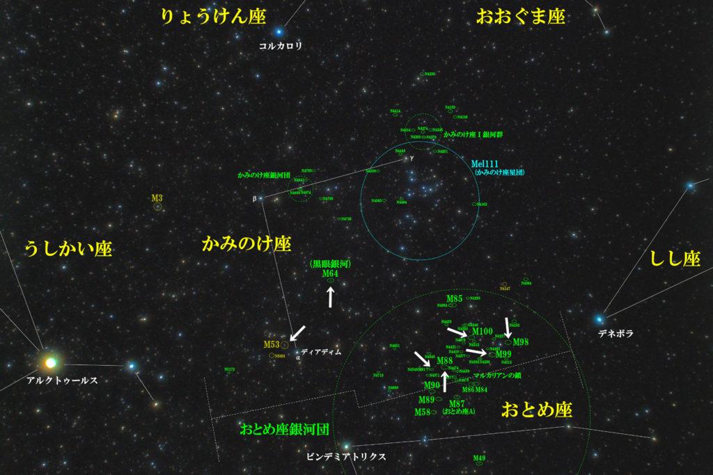 かみのけ座のメシエ天体の位置がわかる写真星図です。球状星団のM53と銀河のM64(黒眼銀河)、M85、M88、M98、M99、M100の合計7つあります。