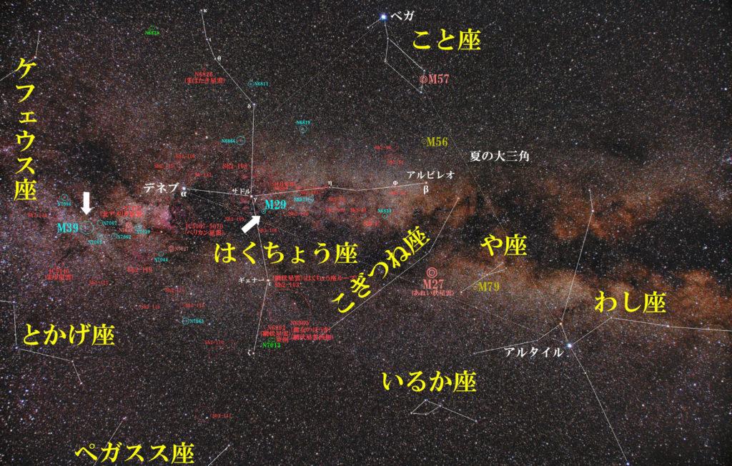 はくちょう座のメシエ天体の位置がわかる写真星図です。散開星団のM29とM39の2つがあります。