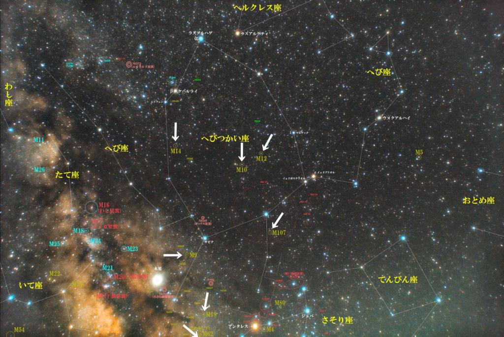 へびつかい座のメシエ天体の位置がわかる写真星図です。球状星団のM9、M10、M12、M14、M19、M62、M107の7つあります。