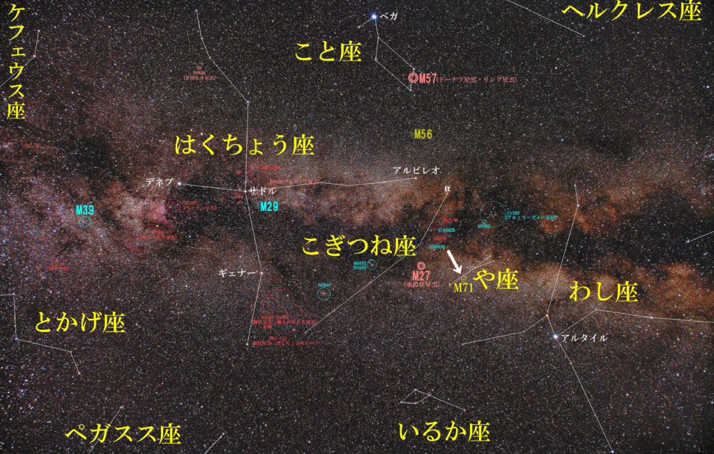 や座のメシエ天体の位置がわかる写真星図です。球状星団のM71が1つあります。