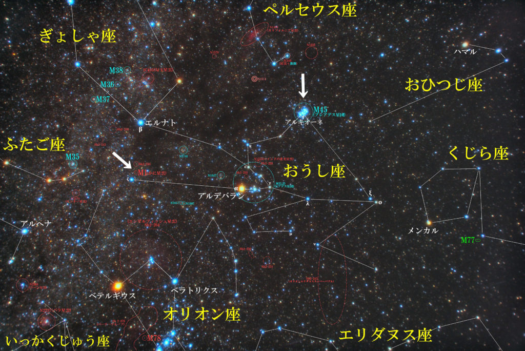 おうし座のメシエ天体の位置がわかる写真星図です。超新星の残骸のM1(かに星雲)と散開星団のM45(プレアデス星団・すばる)の2つがあります。